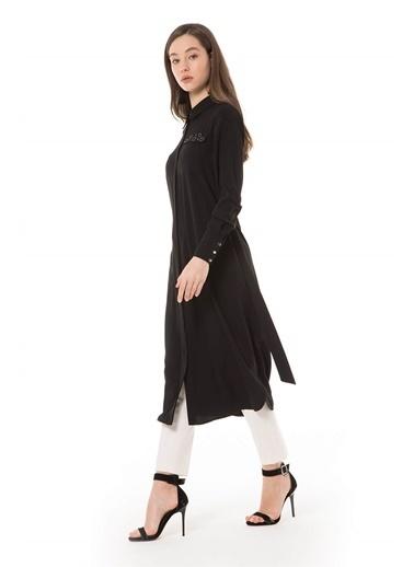Vivencia Yıldız Aksesuarlı Uzun Lacivert Tunik Siyah
